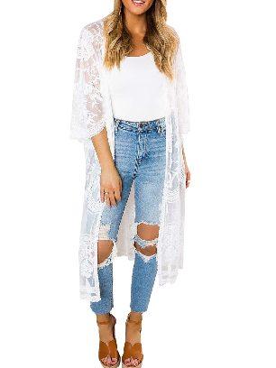 White Sexy Crochet Loose Lace Kimono