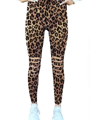 Leopard print Hollow Out Fitness Activewear Print Stretch Leggings