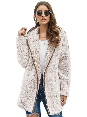 Coffee Mid-length Thick Winter Wubby Casual Women Coat