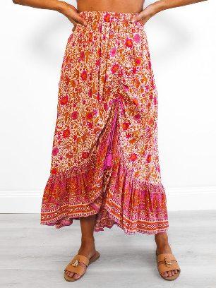 Autumn Floral Motif Talking Pretty Drawstring Adjustment Ruffled Maxi Skirt