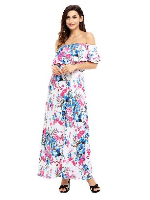Bohemian Flower Off Shoulder Long Boho Ruffled Slim Dress