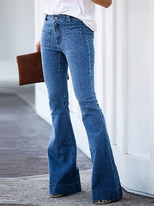 New Style Fashion Vintage Casual Pocket High-stretch Thin Flared Jeans