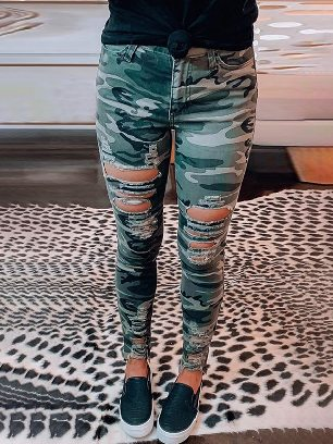 New Style Jeans Women Camouflage Hollow out Skinny Jeans with Pocket
