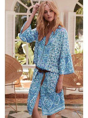 Supply Women Retro Printed Three-Quarter Sleeve Mid-Calf Dress