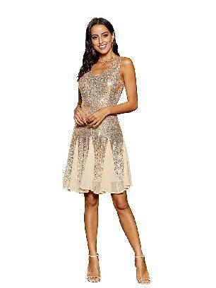 White Sleeveless V-neck Gradient Sequin&Chiffon Mini Dress