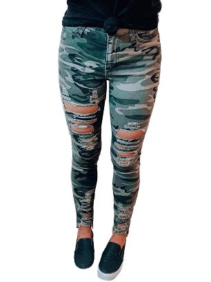 Dark green New Style Jeans Women Camouflage Hollow out Skinny Jeans with Pocket