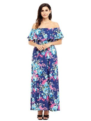 Blue Bohemian Flower Off Shoulder Long Boho Ruffled Slim Dress