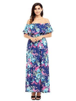 Blue Bohemian Flower Off Shoulder Long Boho Ruffled Slim Dress