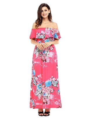 Rose red Bohemian Flower Off Shoulder Long Boho Ruffled Slim Dress