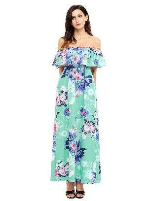 Green Bohemian Flower Off Shoulder Long Boho Ruffled Slim Dress