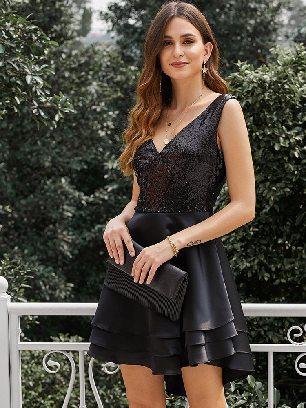 Supply Sexy Heart Broken Sequin Sleeveless Multi Layer V-neck Dress
