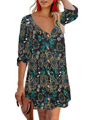 Autumn Print V Neck Calf-Length Roll Sleeve Single Breasted Floral Dress