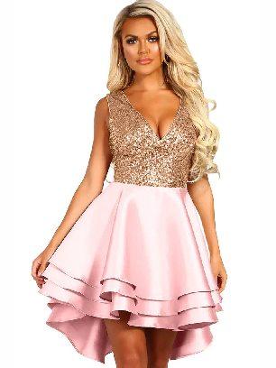 Pink Sexy Heart Broken Sequin Sleeveless Multi Layer V-neck Dress