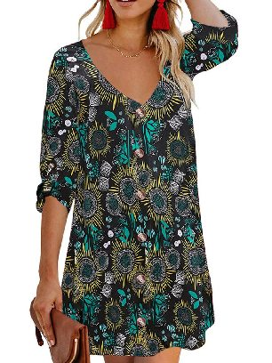 Black Autumn Print V Neck Calf-Length Roll Sleeve Single Breasted Floral Dress