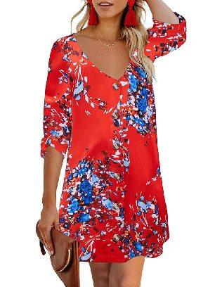Supply Orange Autumn Print V Neck Calf-Length Roll Sleeve Single Breasted Floral Dress