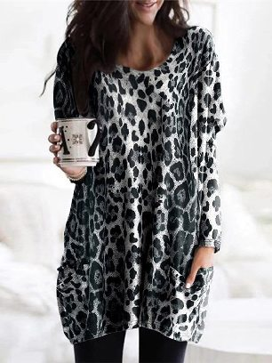 Autumn Leopard Print Long-sleeved Round Neck Pockets Casual Top