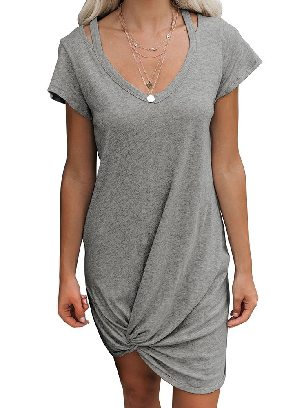 Supply Gray Asymmetrical Hem Skies Jersey Twist T-Shirt Dress Women