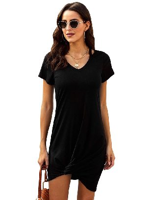 Supply Black Asymmetrical Hem Skies Jersey Twist T-Shirt Dress Women