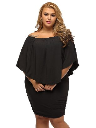 Supply Multiple Layered Plus Size Poncho Dress