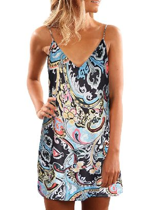 Summer Casual Sleeveless Sling Floral Printed Sundress