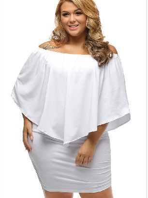 Supply White Multiple Layered Plus Size Poncho Dress