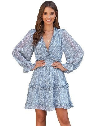 Sky Blue Women Floral Chiffon Ruffle Detailing Open Back Dress