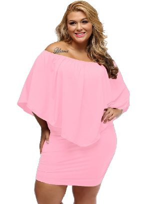 Supply Pink Multiple Layered Plus Size Poncho Dress