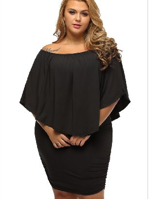 Supply Black Multiple Layered Plus Size Poncho Dress