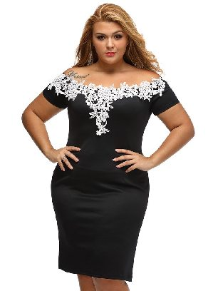 Supply Lace Crochet Off Shoulder Short-sleeved Plus Size Pencil Dress
