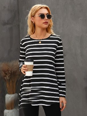 Autumn New Style Stripe Elbow Patch Button Back Tunic Round Neck Long-sleeved Top