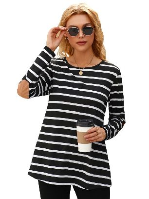 Black Autumn New Style Stripe Elbow Patch Button Back Tunic Round Neck Long-sleeved Top