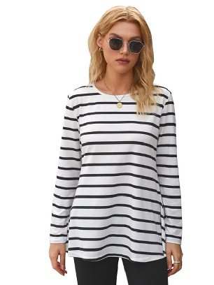 White Autumn New Style Stripe Elbow Patch Button Back Tunic Round Neck Long-sleeved Top