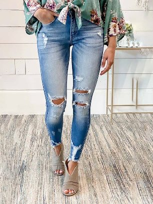 New Style Women Faded Mid High Rise Jeans with Holes