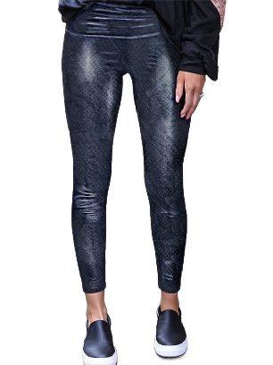 Black snake pattern 2 Animal Print Leopard Textured Leggings Skinny Leather Pants