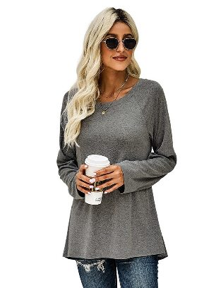 Gray New Style Knit Tunic Casual Pullover Top