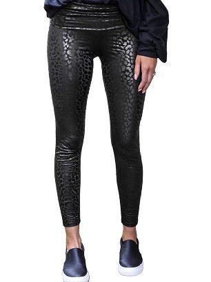 Black Animal Print Leopard Textured Leggings Skinny Leather Pants