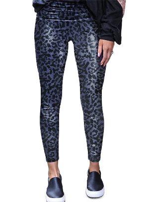 Leopard print Animal Print Leopard Textured Leggings Skinny Leather Pants
