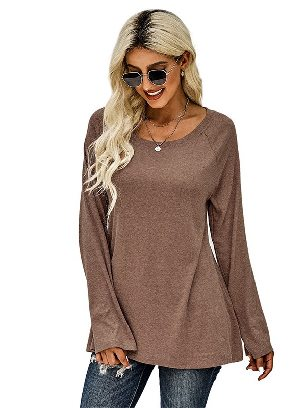 Khaki New Style Knit Tunic Casual Pullover Top