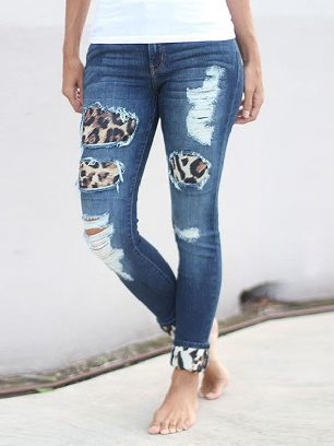 New Style Leopard Print Plaid Splicing Hollow Out Ripped Jeans