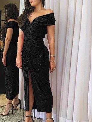 Supply Sexy Glitter Ruched Slit Folds Split Hem Prom Dress