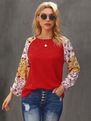 Knit Mixed Long-sleeved Floral Print Balloon Sleeve Top