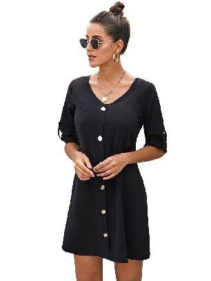 Black Solid Color Women V Neck Button Front Roll Up Tab Sleeve Dress
