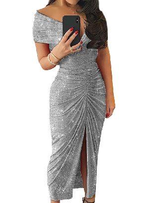 Gray Sexy Glitter Ruched Slit Folds Split Hem Prom Dress