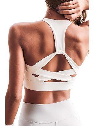 White Shockproof Athletic Cross Stitching Push Up Sports Bra
