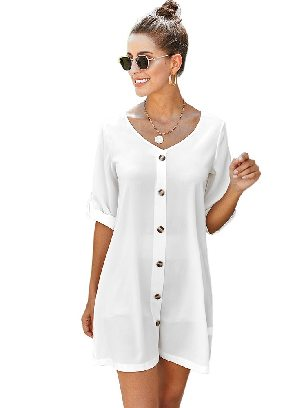 White Solid Color Women V Neck Button Front Roll Up Tab Sleeve Dress