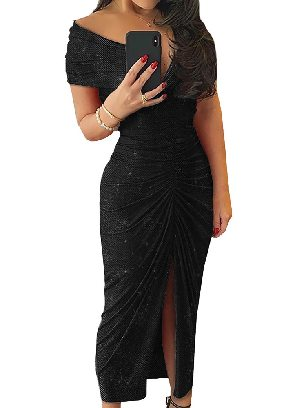 Black Sexy Glitter Ruched Slit Folds Split Hem Prom Dress