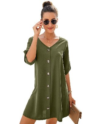 Green Solid Color Women V Neck Button Front Roll Up Tab Sleeve Dress