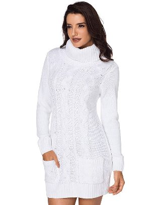 New Winter Knit Dress Solid Color High Neck Cable Knit Sweater Dress
