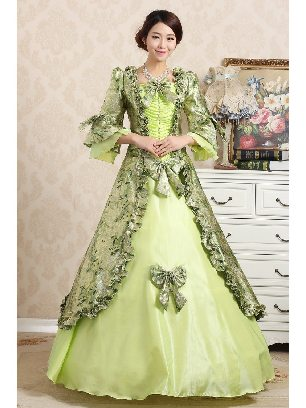 Light Green Elegant court embroidered Trumpet Sleeves Bowknot palace Prom Dress