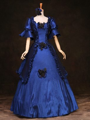 Navy court Trumpet Sleeves Bowknot flowers palace Prom Dress